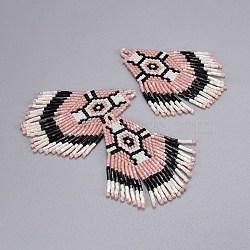 Perles de rocaille japonaises faites main pendentifs, avec fil d'importation japon, motif de tissage, losange, mistyrose, 66~67x26x2mm, Trou: 2.5~3mm(SEED-P003-01B)