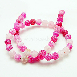 Natural Crackle Agate Beads Strands, Dyed, Round, Grade A, HotPink, 4mm, Hole: 0.8mm; about 93pcs/strand, 15inches