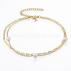 """Bracelets de cheville multi-brins en 304 acier inoxydable , avec fermoirs mousquetons, Perles acryliques et chaînes d'extension, rond, or, 8-5/8""""x1/8"""" (220x1.5~2 mm)(AJEW-K016-09A)"""