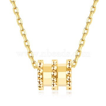 925 Sterling Silver Pendant Necklaces, Cable Chains, Column, Golden(NJEW-BB34630-G)