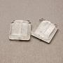 White Square Silver Foil Beads(X-FOIL-S006-12x12mm-11)