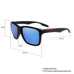 унисекс наружные солнцезащитные очки, пластиковые рамы и смоляные линзы, прямоугольник, черный, синий, 14.4x5.2 cm(SG-BB27709-5)