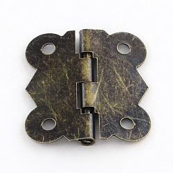 Accessoires boîte en bois charnière de fer, bronze antique, 25x20x2.5mm, Trou: 3mm(X-IFIN-R203-54AB)