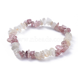 Natural White Moonstone & Strawberry Quartz Chip Stretch Bracelets, 2-1/8 inches(5.3cm)(X-BJEW-JB04490-05)