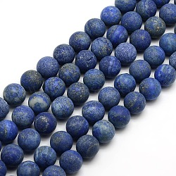 Natural Frosted Lapis Lazuli Round Bead Strands, Dyed & Heated, 12mm, Hole: 1mm; about 30~32pcs/strand, 14.9~15.6inches