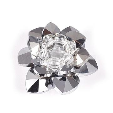 35mm Gray Flower Glass Beads