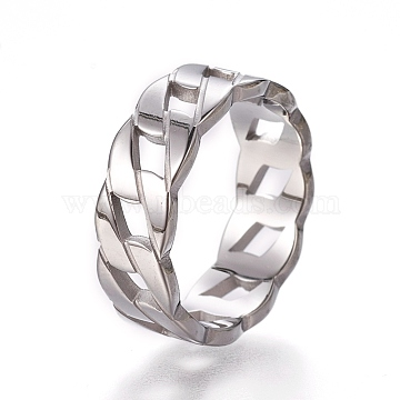 304 Stainless Steel Finger Rings, Stainless Steel Color, Size 6~9, 16~19mm(RJEW-E158-22P)