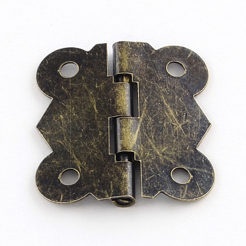Wooden Box Accessories Iron Hinge, 90 Degree Fixed, Antique Bronze, 25x20x2.5mm, Hole: 3mm(X-IFIN-R203-54AB)