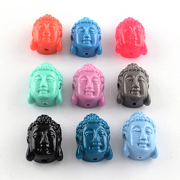 Dyed Buddha Head Synthetical Coral Beads, Mixed Color, 15x10x7mm, Hole: 1mm(X-CORA-R011-15)