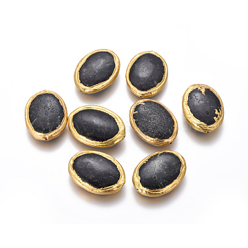 33mm Black Oval Fossil Beads