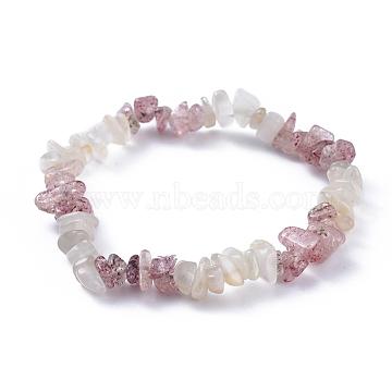 Natural White Moonstone & Strawberry Quartz Chip Stretch Bracelets, 2-1/8 inches(5.3cm)(X-BJEW-JB04490-05)
