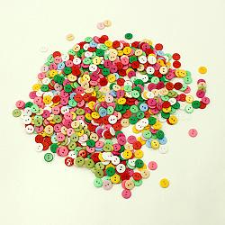 Bonbons colorés boutons à deux trous, bouton de résine, plat rond, couleur mixte, environ 11 mm de diamètre, Trou: 1.5mm(X-NNA0VCT)