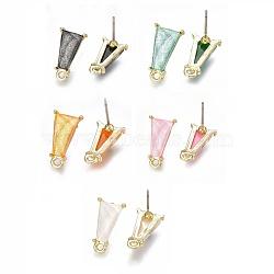 Accessoires de clou d'oreille en alliage, avec des aiguilles en résine et en acier, avec boucle, trapèze, or clair, couleur mixte, 16x9mm, trou: 1.6 mm; broches: 0.7 mm(X-PALLOY-S121-19-M)