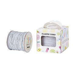 Elastic Cord, with Nylon Outside and Rubber Inside, Round, White, 1mm; 109.36yards/roll(100m/roll)(EC-JP0003-1mm-001A)