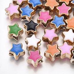 Uv placage acrylique perles européennes, avec l'émail, Perles avec un grand trou   , étoiles, couleur mixte, or clair, 10.5x11.5x9mm, Trou: 4.5mm(X-OACR-T005-91KC)