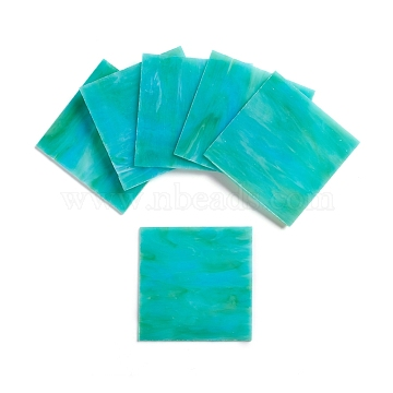 Variety Stained Glass Sheets, Large Cathedral Glass Mosaic Tiles, for Crafts, Medium Turquoise, 100.5x100.5x2.5mm(GLAA-G072-07K)