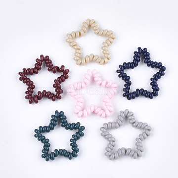 Plastic Telephone Cord Elastic Hair Ties, Ponytail Holder, Star, Mixed Color, 40~42x42~45x6mm(OHAR-T006-33)