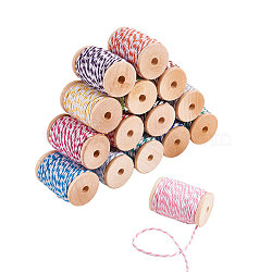 Cotton String Threads for Jewelry Making, Macrame Cord, Dyed, Mixed Color, 2mm; about 10m/roll, 1roll/color, 15rolls/set(PH-OCOR-G005-01)