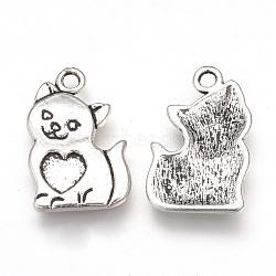 Supports de pendentif d'émail en alliage de style tibétain, chat avec coeur, sans cadmium et sans plomb, argent antique, 21x13.5x2mm, Trou: 2mm(X-TIBEP-T002-133AS-RS)