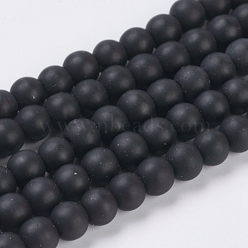 Synthetical Black Stone Beads Strands, Frosted, Round, Black, Size: about 6mm in diameter, hole: 1mm, about 64pcs/strand, 15.7 inches(X-G-G508-7)