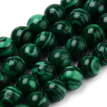 8mm Round Malachite Beads