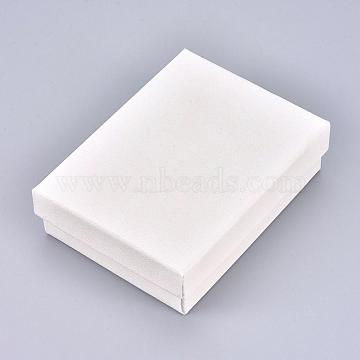 Cardboard Gift Box Jewelry  Boxes, for Necklace, Earrings, with Black Sponge Inside, Rectangle, White, 9.2x7x2.7cm(CBOX-F004-03B)