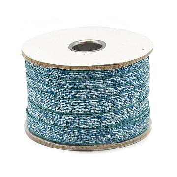Nylon Ribbon, Imitation Snakeskin, DarkTurquoise, 3/8inch(11mm); about 50yards/roll(45.72m/roll)(SRIB-N003-03A)