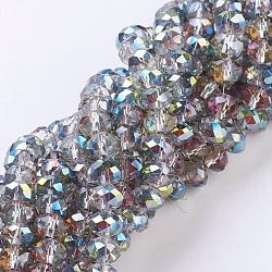 Chapelets de perles en rondelles facettées en verre électrolytique, arc-en-ciel plaqué, turquoise, taille: environ 8mm de diamètre, épaisseur de 6mm, trou: 1mm; environ 68~70 pcs/chapelet
