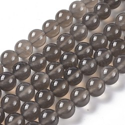 Natural Gray Agate Bead Strands, Round, Grade A, 10mm, Hole: 1mm; about 40pcs/strand, 15.7inches