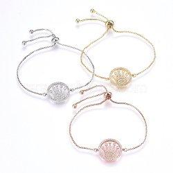 """Bracelets réglables en laiton à micro-pavé de zircons cubiques, Bracelets coulissants, plat rond avec la couronne, clair, couleur mixte, 10-1/4"""" (26cm); 1.2mm(BJEW-H583-03)"""
