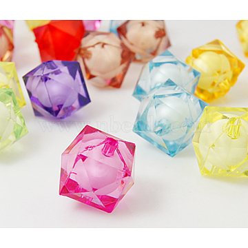 Mixed Color Transparent Acrylic Faceted Cube Beads, Bead in Bead, Dyed, 16x16x15mm, Hole:2mm(X-TACR-Y03BC-16mm)