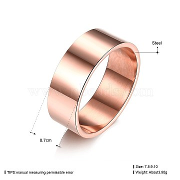 Men's Titanium Steel Finger Rings, Wide Band Rings, Chunky Rings, Rose Gold, US Size 10(19.8mm)(RJEW-BB19728-10RG)
