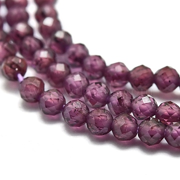 Natural Garnet Beads Strands, Round, Faceted, 2mm, Hole: 0.4mm; about 192pcs/Strand, 15.16''(38.5cm)(G-O186-D01)