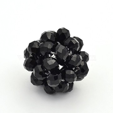 Braided Glass Crystal Round Woven Beads, Cluster Beads, Black, 22mm(X-GLAA-A034-6mm-A08)
