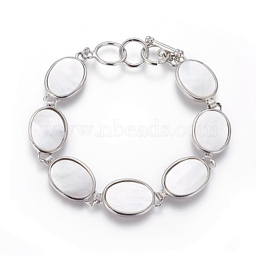 White Shell Beaded Bracelets, with Brass Findings and Toggle Clasps, Oval, Platinum, 8-3/4 inches(22.2cm), 15.5mm(BJEW-L613-17A)