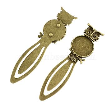 Owl Vintage Tibetan Style Alloy Bookmarks Cabochon Settings, Lead Free & Cadmium Free & Nickel Free, Antique Bronze, Flat Round Tray: 20mm; Fit for 1.5mm Rhinestone; 88x22.5x3mm(X-TIBE-Q032-28AB-NR)