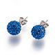 Sterling Silver Austrian Crystal Rhinestone Ball Stud Earrings for Girl(Q286H131)-2