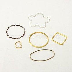 Anneaux connecteurs en laiton, forme mixte, couleur mixte, 8~40x5~25x0.5~1mm(KK-MSMC010-M)