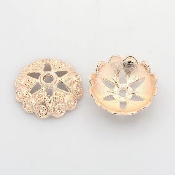 Nickel Free & Lead Free Rose Gold Alloy Bead Caps, Long-Lasting Plated, 6-Petal, Flower, 20x6mm, Hole: 2mm(PALLOY-J471-61RG-FF)