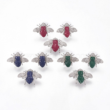 Brass Jewelry Sets, Ear Studs and Pendants, with Micro Pave Cubic Zirconia, Bees, Platinum, Mixed Color, 18x25x10mm, hole: 2x3mm; 16x22.5x5mm, pin: 0.7mm.(SJEW-I023-01)