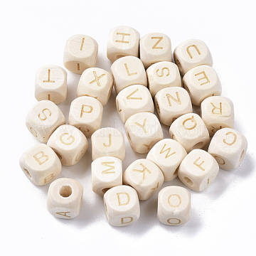 Carved Natural Wood European Beads, Cube with Initial Letter, Blanched Almond, 10x10x10mm, Hole: 4mm(WOOD-T026-007)