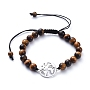 "Unisex Adjustable Natural Tiger Eye Braided Bead Bracelets, with Alloy Links and Nylon Cord, World Map, 2-1/8""~4""(5.3~10.3cm)"