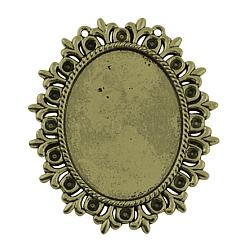 Supports de style Tibétain en alliage pour cabochon & strass, sans plomb & sans nickel & sans cadmium , fleur, bronze antique, bac: 40x30 mm et 3 mm; 56x49x2 mm, Trou: 1mm(X-TIBEP-554-AB-FF)