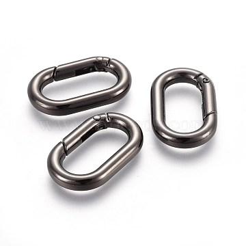 Zinc Alloy Key Clasps, Spring Gate Rings, Oval Rings, Gunmetal, 34.5x21x5mm, Inner Diameter: 25x11.5mm(PALLOY-WH0056-02B)