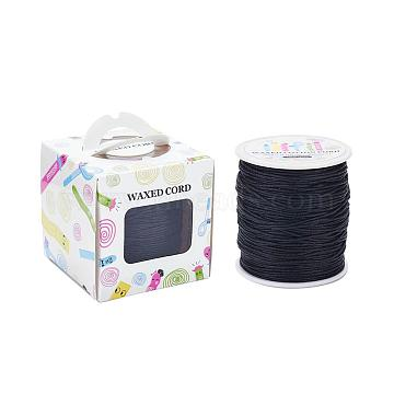 Waxed Cotton Cords, Black, 1mm, about 100yards/roll(91.44m/roll), 300 feet/roll(YC-JP0001-1.0mm-332)