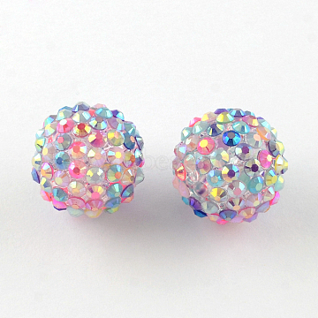 16mm Colorful Round Resin+Rhinestone Beads