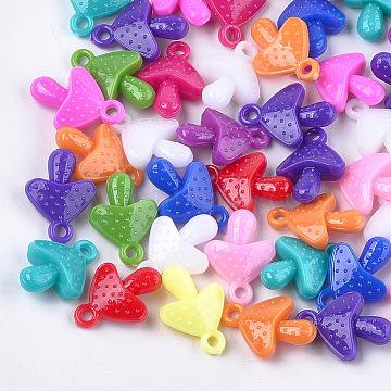Plastic Pendants, Mushroom, Mixed Color, 27x20x9mm, Hole: 3mm(X-KY-T009-06)