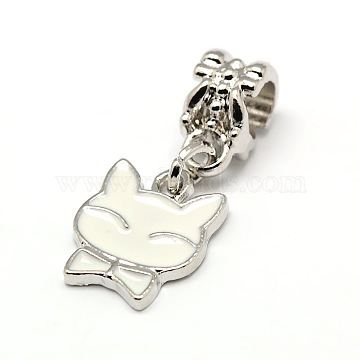 26mm White Cat Alloy+Enamel Dangle Beads