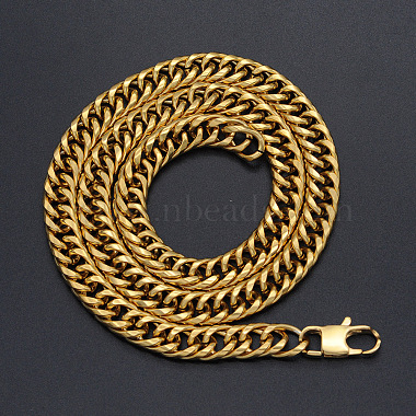 Men's 304 Stainless Steel Cuban Link Chain Necklaces(NJEW-T012-01B-66-G)-2