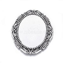 Cabochon supports d'alliage métallique, matériel de bricolage pour les accessoires de cheveux, argent antique, sans nickel, ovale, 54x45x2mm, plateau :40x30 mm(X-PALLOY-A15623-AS-NF)